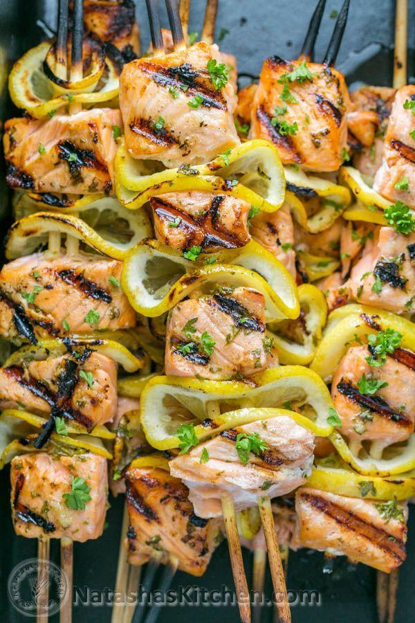 """<p>Food-on-a-stick season has arrived, ladies and gents.</p><p>Get the recipe from <a href=""""http://natashaskitchen.com/2015/06/12/grilled-salmon-skewers-with-garlic-and-dijon/"""" rel=""""nofollow noopener"""" target=""""_blank"""" data-ylk=""""slk:Natasha's Kitchen"""" class=""""link rapid-noclick-resp"""">Natasha's Kitchen</a>.</p>"""