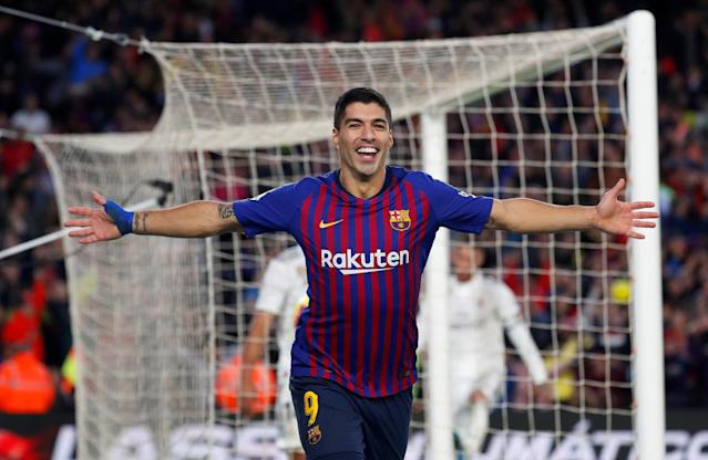 "Luis Suarez netted a hat-trick as <a class=""link rapid-noclick-resp"" href=""/soccer/teams/barcelona/"" data-ylk=""slk:Barcelona"">Barcelona</a> wiped the Camp Nou grass with <a class=""link rapid-noclick-resp"" href=""/soccer/teams/real-madrid/"" data-ylk=""slk:Real Madrid"">Real Madrid</a> in El Clasico. (Reuters)"