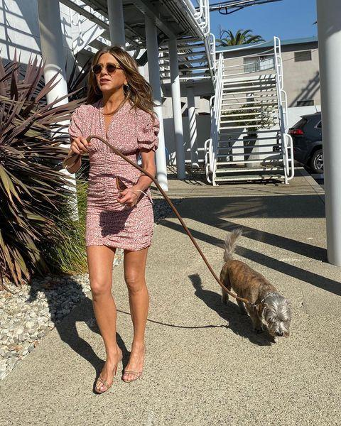 """<p>The Instagram newbie looked incredibly chic walking her loyal terrier, Clyde. Instagram thought so too, with the post garnering more than five million likes and a multitude of comments including from fellow dog-lover, and Aniston's ex-husband Justin Theroux.</p><p><a href=""""https://www.instagram.com/p/B40epCrhLbO/"""" rel=""""nofollow noopener"""" target=""""_blank"""" data-ylk=""""slk:See the original post on Instagram"""" class=""""link rapid-noclick-resp"""">See the original post on Instagram</a></p>"""