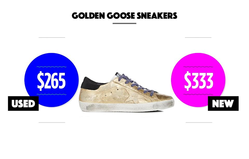 "<p>Used condition: $161-$265<br> New condition: $242-$333<br>Photo: Women's Superstar metallic leather sneakers, $515, <a href=""http://www.barneys.com/product/golden-goose-women-27s-superstar-metallic-leather-sneakers-505096264.html"" rel=""nofollow noopener"" target=""_blank"" data-ylk=""slk:barneys.com"" class=""link rapid-noclick-resp"">barneys.com</a><br>eBay options: <a href=""http://www.ebay.com/sch/i.html?_odkw=golden+goose+sneakers&LH_BIN=1&_osacat=3034&_from=R40&_trksid=p2045573.m570.l1313.TR10.TRC3.A0.H0.TRS1&_nkw=golden+goose+sneakers&_sacat=3034"" rel=""nofollow noopener"" target=""_blank"" data-ylk=""slk:Golden Goose"" class=""link rapid-noclick-resp"">Golden Goose</a><br>(Data courtesy of eBay) </p>"