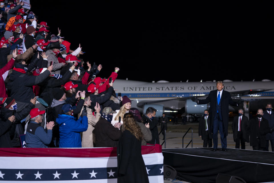 President Donald Trump arrives for a campaign rally at Eppley Airfield, Tuesday, Oct. 27, 2020, in Omaha, Neb. (AP Photo/Evan Vucci)