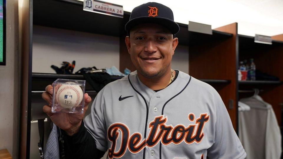 Detroit Tigers' Miguel Cabrera holds the ball he hit for his 500th career home run at Rogers Centre in Toronto, Aug. 22, 2021.