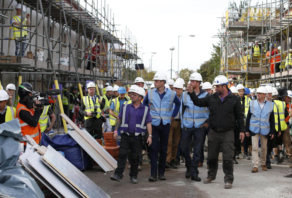Prince William and Prince Harry helped to renovate houses for ex-service personnel for DIY SOS. (Manchester, England, UK) KGC-375/STAR MAX/IPx
