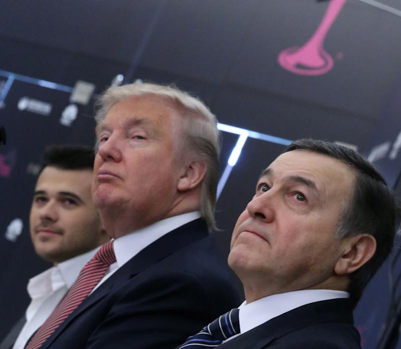 Trump at a Miss Universe 2013 news conference in Moscow in November 2013.