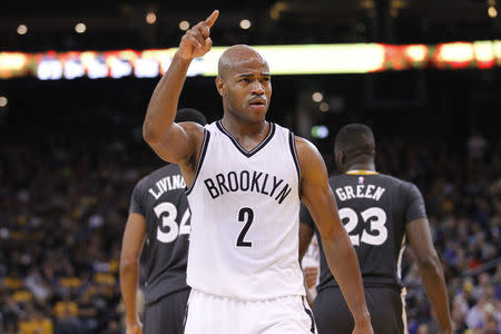 FILE PHOTO: Nov 14, 2015; Oakland, CA, USA; Brooklyn Nets guard Jarrett Jack (2) reacts after making a shot at the end of the third quarter against the Golden State Warriors at Oracle Arena. The Warriors defeated the Nets 107-99 in overtime. Mandatory Credit: Cary Edmondson-USA TODAY Sports / Reuters Picture Supplied by Action Images