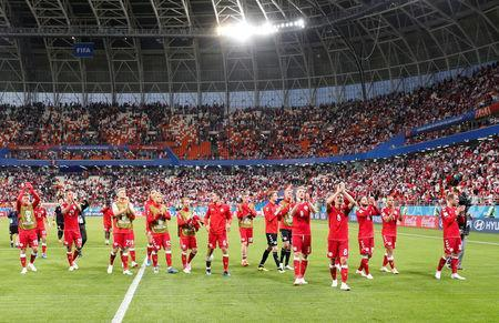 Soccer Football - World Cup - Group C - Peru vs Denmark - Mordovia Arena, Saransk, Russia - June 16, 2018 Denmark's Thomas Delaney, Christian Eriksen and team mates applaud the fans at the end of the match REUTERS/Max Rossi