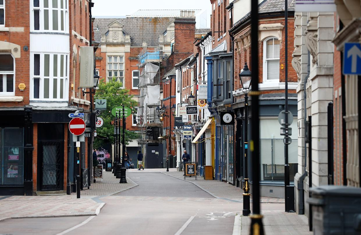 A view of an almost empty street, following a local lockdown imposed amid the coronavirus disease (COVID-19) outbreak, in Leicester, Britain, July 4, 2020. REUTERS/Jason Cairnduff