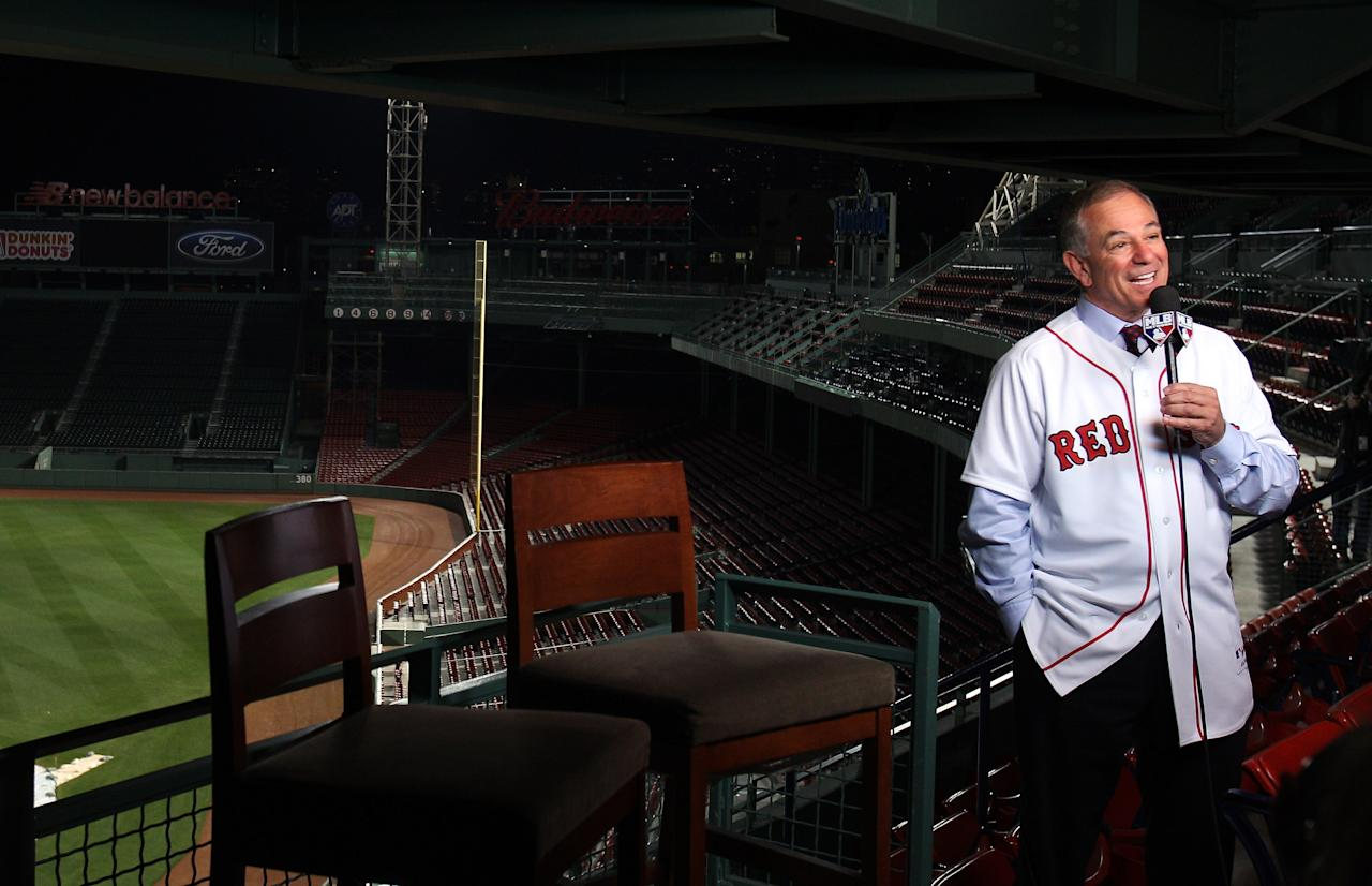 BOSTON, MA - DECEMBER 01:  Bobby Valentine doesn an interview with the MLB network after he is introduced as the new manager for the Boston Red Sox during a press conference on December 1, 2011 at Fenway Park in Boston, Massachusetts.  (Photo by Elsa/Getty Images)
