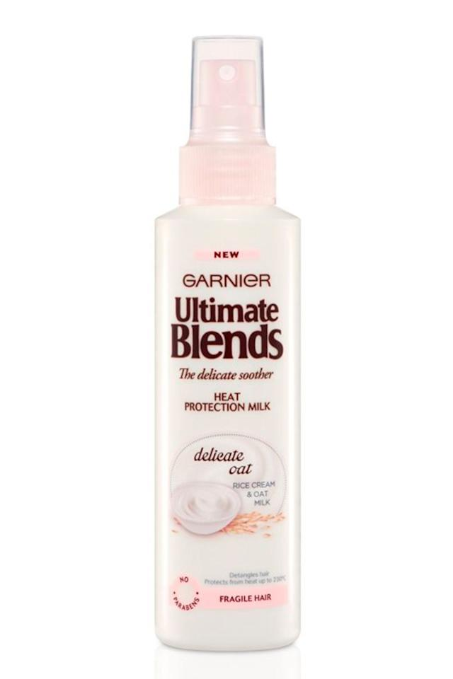 """<p><strong>B</strong><strong>est for: Weak hair that breaks easily</strong></p><p>Garnier's Ultimate Blends Heat Protection Milk has a non-greasy, milky formula that gives hair a softness without weighing it down. The nourishing oat extract provides a silkiness to parched strands and makes quick work of brushing and blow-drying. </p><p>Not only is it ace for snap-prone tresses, but it's also purse-friendly. Win, win.</p><p><strong>Price:</strong> £4.98</p><p><a rel=""""nofollow"""" href=""""http://www.feelunique.com/p/Garnier-Ultimate-Blends-Delicate-Smoother-Heat-Protect-Milk-150ml"""">buy now</a><br></p>"""