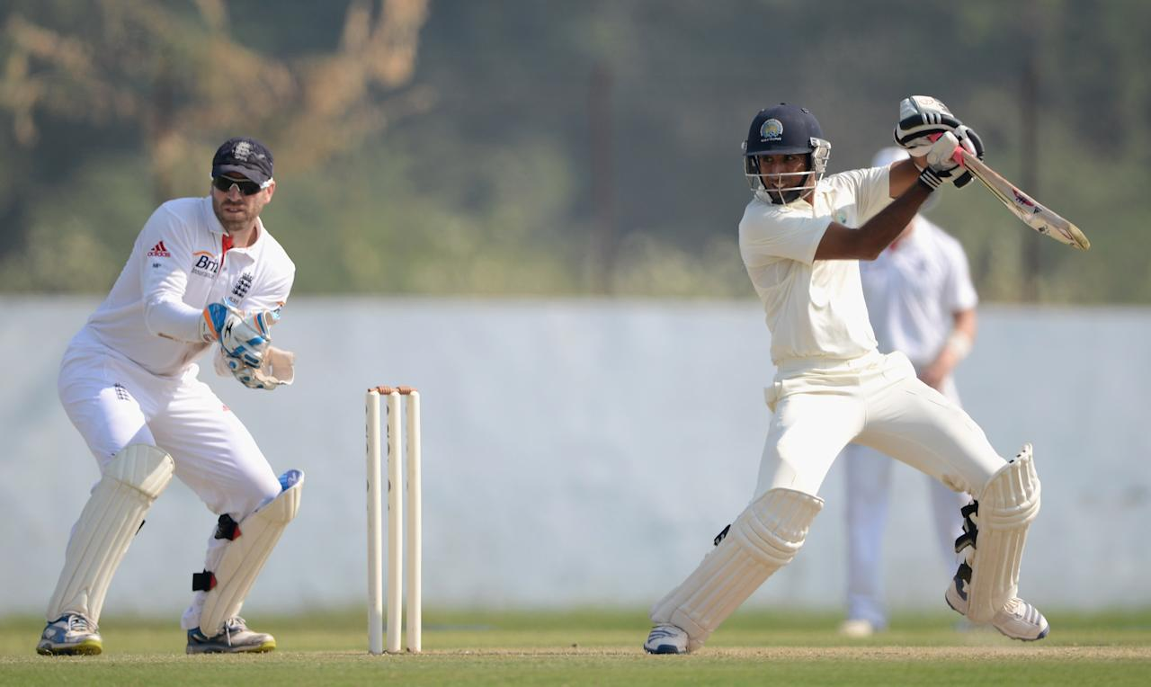 AHMEDABAD, INDIA - NOVEMBER 10:  Rahul Dewan of Haryana bats during day three of the tour match between England and Haryana at Sardar Patel Stadium ground B on November 10, 2012 in Ahmedabad, India.  (Photo by Gareth Copley/Getty Images)
