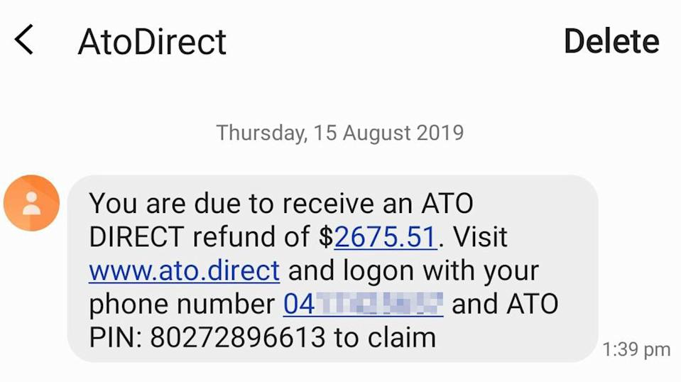 A text message pretending to be from the ATO. It informs the recipient they have a tax refund to claim and to visit a scam website called ato.direct.
