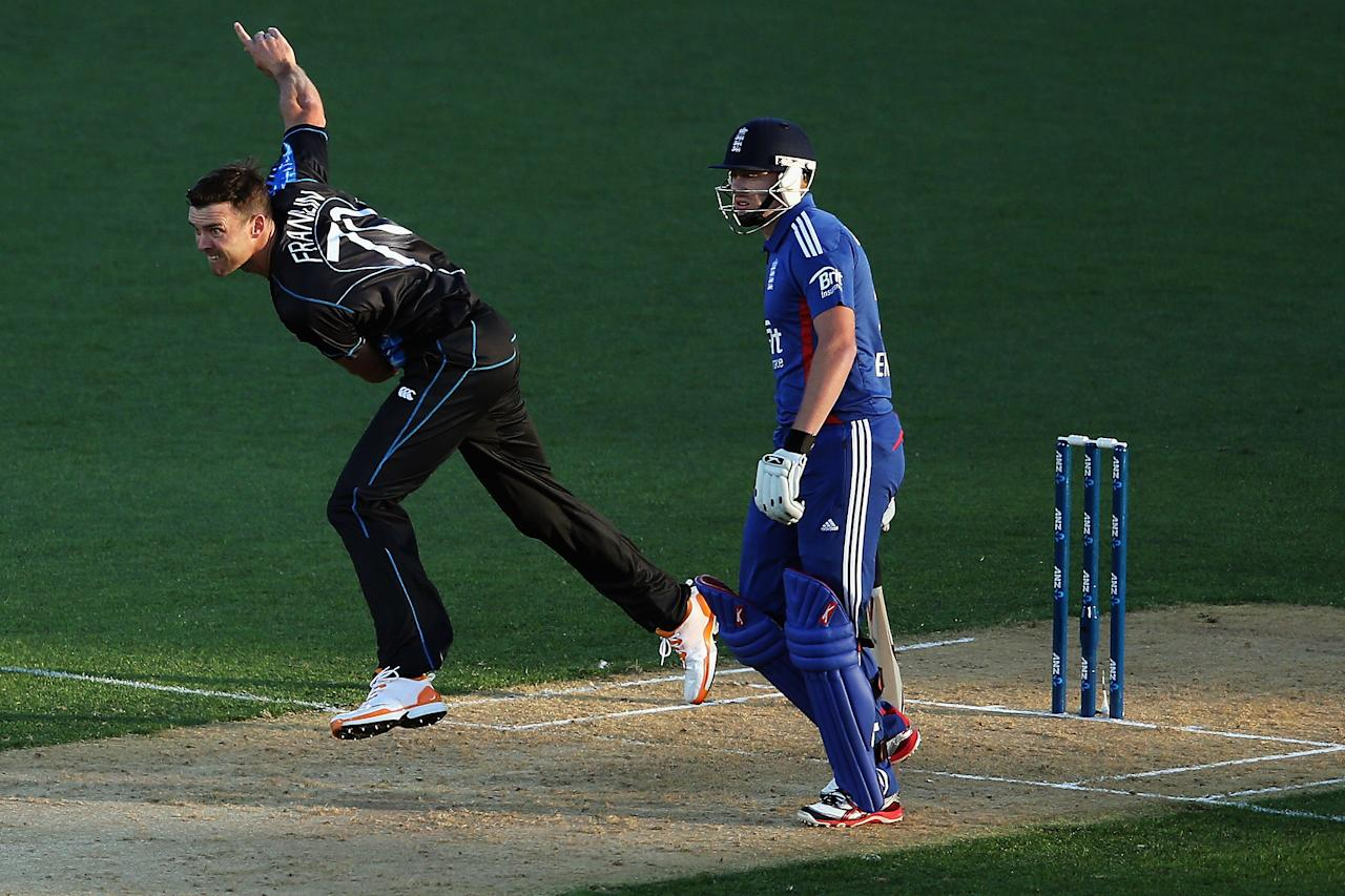 AUCKLAND, NEW ZEALAND - FEBRUARY 09: James Franklin of New Zealand bowls during the 1st T20 International between New Zealand and England at Eden Park on February 9, 2013 in Auckland, New Zealand.  (Photo by Hannah Johnston/Getty Images)