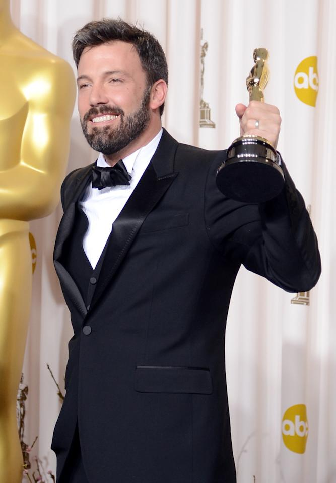 "HOLLYWOOD, CA - FEBRUARY 24:  Actor-producer-director Ben Affleck, winner of the Best Picture award for ""Argo,"" poses in the press room during the Oscars held at Loews Hollywood Hotel on February 24, 2013 in Hollywood, California.  (Photo by Jason Merritt/Getty Images)"