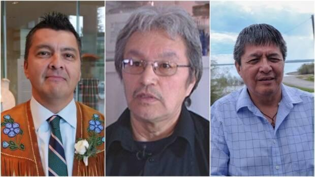 Jackson Lafferty, left, Eddie Erasmus, centre, and George Mackenzie, right, have been named candidates in the Tłı̨chǫ grand chief election.  (Mario De Ciccio/Radio-Canada, CBC, John Van Dusen/CBC - image credit)