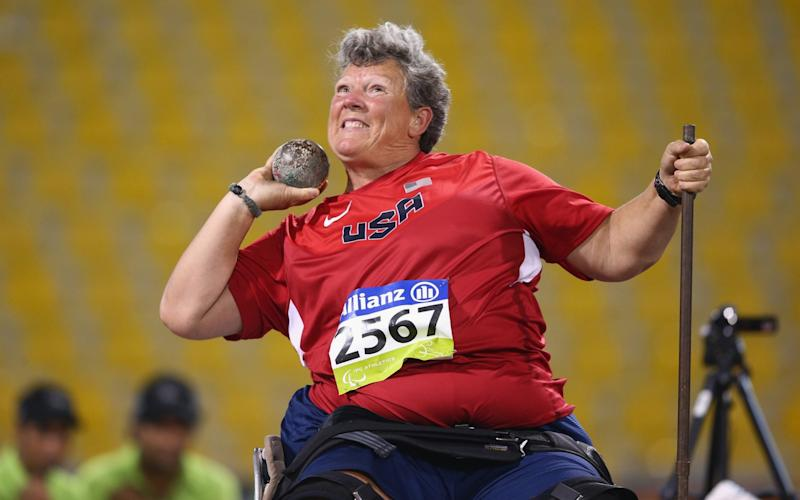 Competing in the shot put at the World Athletics Championships in Doha in 2015 -  Francois Nel/Getty Images