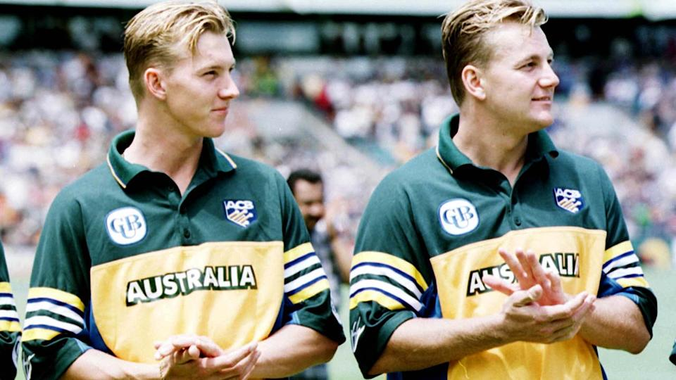 Brett and Shane Lee, pictured here before a one-day international match for Australia.