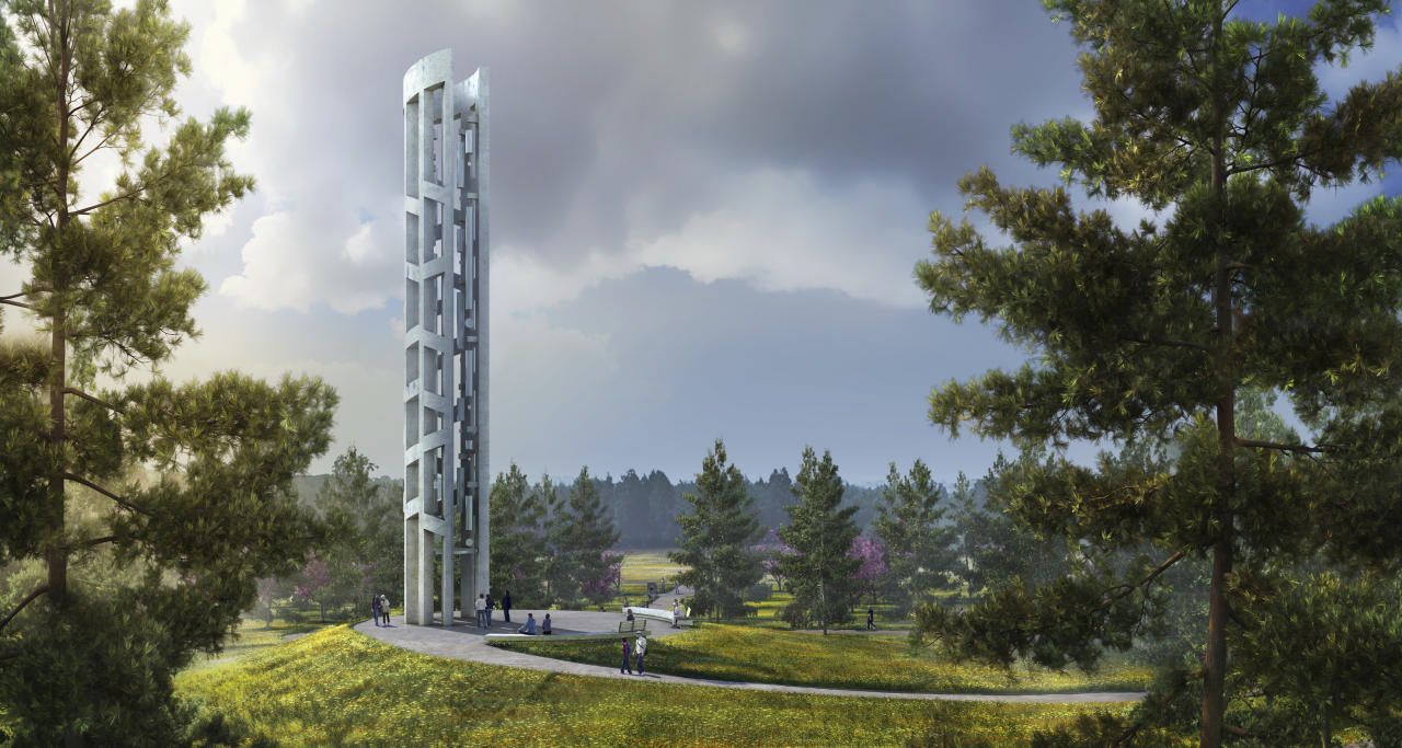 ADDS CREDIT INFORMATION - This undated rendering provided by bioLinia and Paul Murdoch Architects depicts the Tower of Voices, which is scheduled to open in September at the Flight 93 National Memorial in Stoystown, Pa. The 93-foot tower will be part of the commemoration of the downing of the jet on Sept. 11, 2001. It will feature 40 chimes, a symbolic representation of the 40 passengers and crew who perished in the crash of Flight 93. (bioLinia and Paul Murdoch Architects/Friends of Flight 93 National Memorial via AP)