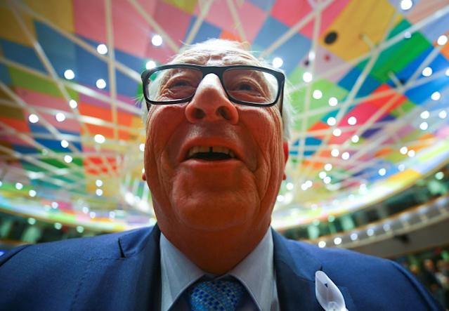REFILE - QUALITY REPEAT European Commission President Jean-Claude Juncker looks into a photographer's camera as he attends a European Union leaders summit in Brussels, Belgium, March 22, 2018. REUTERS/Wolfgang Rattay TPX IMAGES OF THE DAY