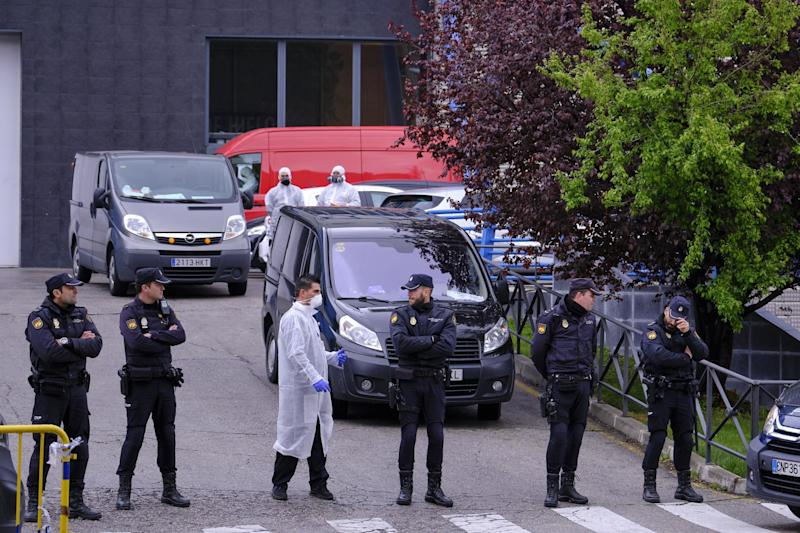 Makeshift morgues have been set up in Madrid to cope with the surging death toll (Getty Images)