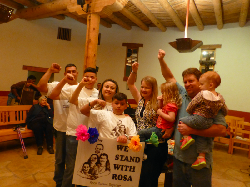 Rev. Alison Harrington and her family (right) with the family of Rosa Robles Loreto, an undocumented immigrant who was living in sanctuary at Southside for 15 months in 2014.
