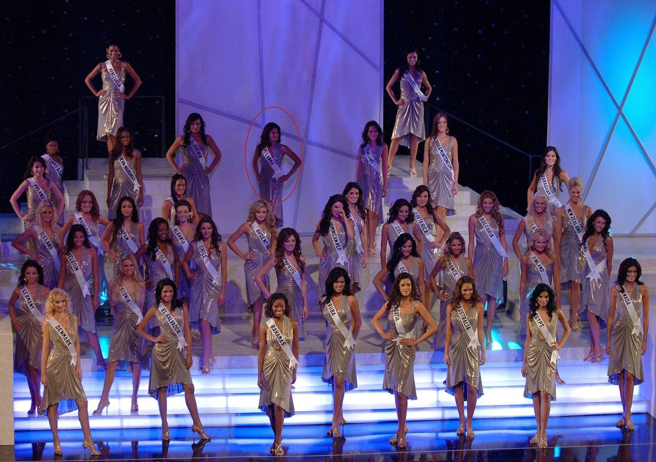 Jacqueline Fernandez along with other beauty contestants on stage during the Miss Universe 2006 pageant at the Shrine Auditorium in Los Angeles, California.
