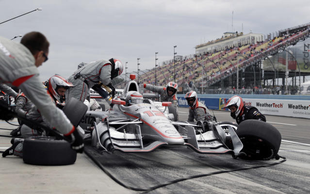 FILE - In this Sept. 3, 2017, file photo, Will Power pits during the IndyCar Series auto race in Watkins Glen, N.Y. Will Power has had an uneven season, especially for someone who won the Indy 500 and still hopes to contend for an IndyCar championship. Mechanical issues forced the Penske driver out at Road America after two laps.(AP Photo/Matt Slocum, File)