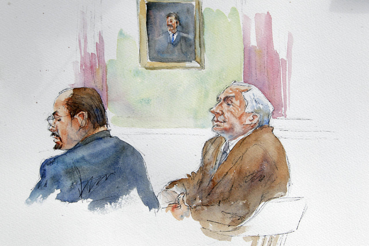 In this courtroom sketch, Karl Rominger, left, attorney for Jerry Sandusky, right, listen as the testimony of Penn State assistant football coach Mike McQueary is reenacted at the request of the jury during the second day of jury deliberations in Sandusky's child sexual abuse trial at the Centre County Courthouse in Bellefonte, Pa., Friday, June 22, 2012. Sandusky is charged with 52 counts of child sexual abuse involving 10 boys over a period of 15 years. (AP Photo/Aggie Kenny)