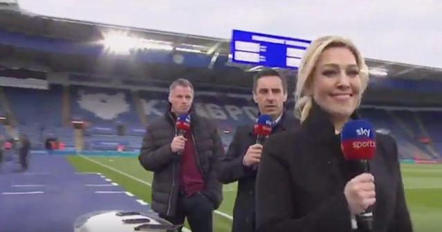 Kelly Cates walks away from Jamie Carragher and Gary Neville