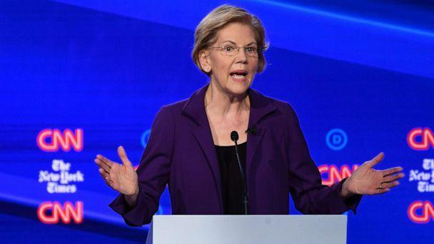PHOTO: Democratic presidential hopeful Sen. Elizabeth Warren speaks during the fourth Democratic primary debate at Otterbein University in Westerville, Ohio, Oct. 15, 2019. (Saul Loeb/AFP/Getty Images)