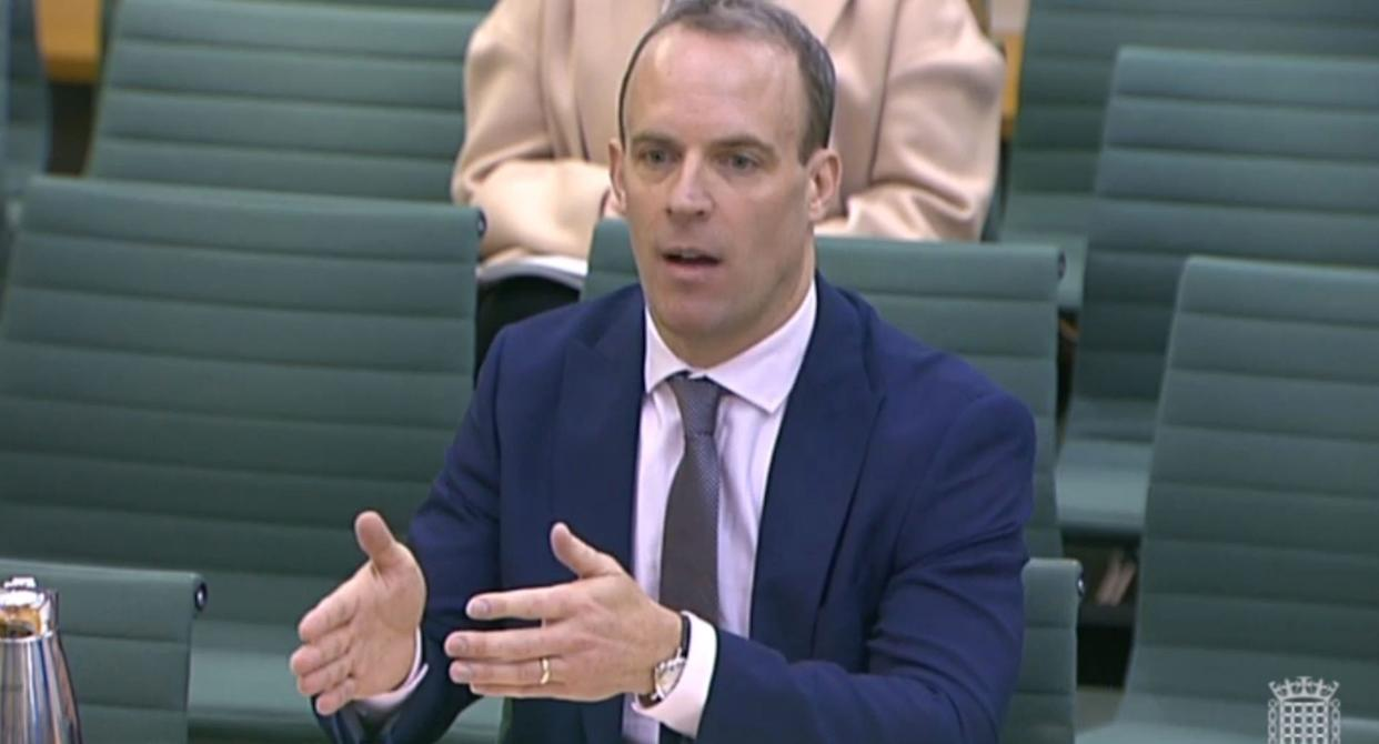 Dominic Raab gives evidence about the Brexit backstop to the Northern Ireland Affairs Committee, in Portcullis House, London.