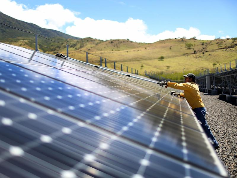Solar panels produce a small part of Costa Rica's 99 percent renewable energy production: Joe Raedle/Getty