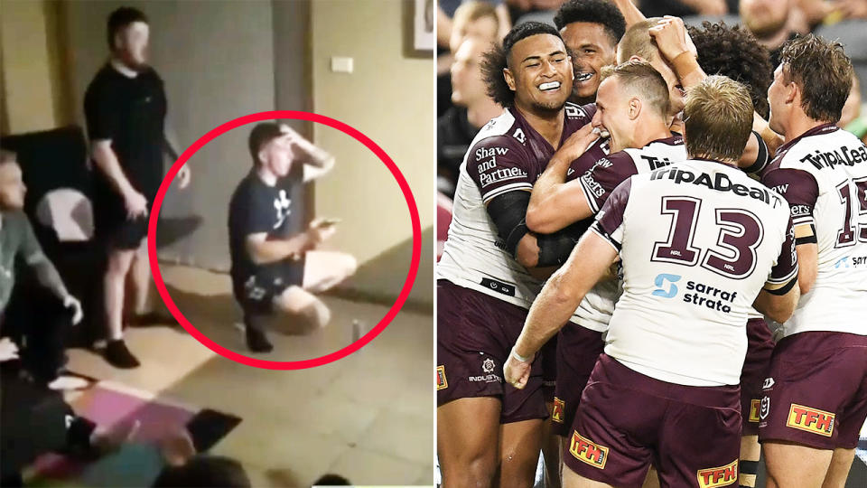 This young punter, pictured here missing out on $6000 thanks to Manly.