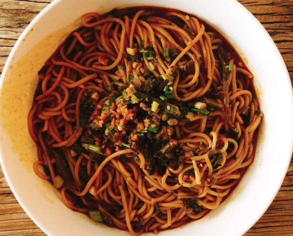 """<p>This spicy dish will certainly get your tastebuds going. Originating from Chinese Sichuan cuisine, it's packed with chilli oil, Sichuan pepper and spring onions. How about <a href=""""https://joanne-eatswellwithothers.com/2016/02/fiery-dan-dan-noodles.html"""" rel=""""nofollow noopener"""" target=""""_blank"""" data-ylk=""""slk:Eats Well With Others' vegetarian version here"""" class=""""link rapid-noclick-resp"""">Eats Well With Others' vegetarian version here</a>? [Photo: Instagram/mutsu251] </p>"""