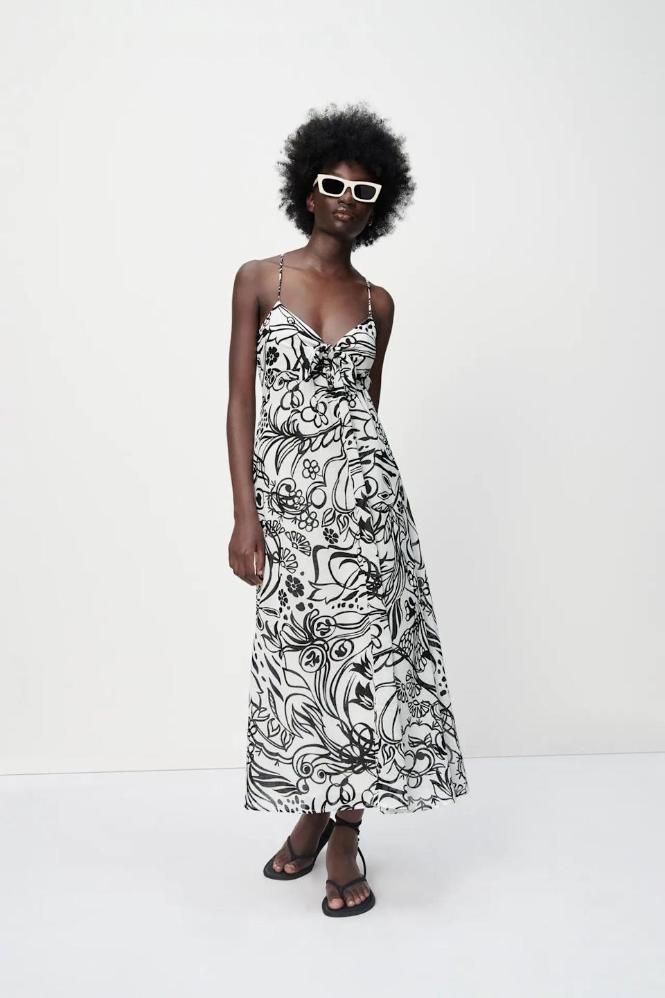 <p>This <span>Zara Long Print Dress</span> ($70) is understated yet elevated, making it an effortless addition in your summer closet. It works just as well for city weekends as it will for warm getaways.</p>