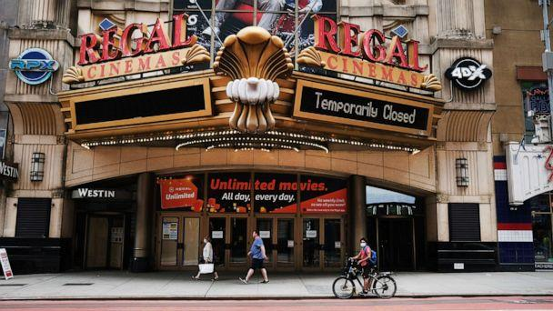 PHOTO: Regal Cinemas stands closed along New York City's iconic 42nd Street on Aug. 06, 2020. (Spencer Platt/Getty Images, FILE)