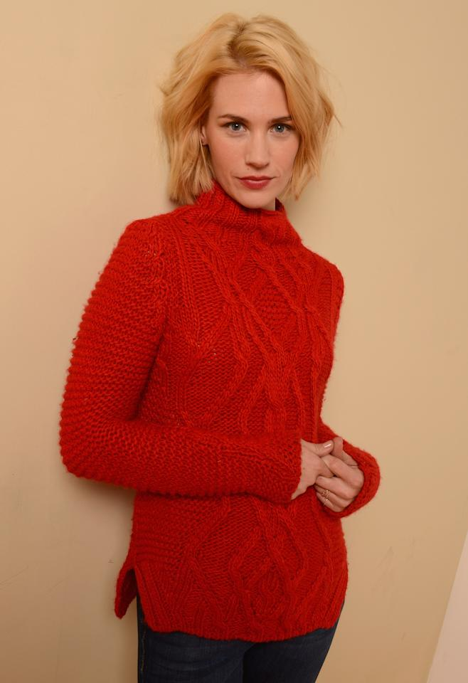 PARK CITY, UT - JANUARY 22:  Actress January Jones poses for a portrait during the 2013 Sundance Film Festival at the Getty Images Portrait Studio at Village at the Lift on January 22, 2013 in Park City, Utah.  (Photo by Larry Busacca/Getty Images)