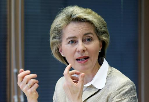 German Defence Minister Ursula von der Leyen gestures during a talk with journalists at AFP's office in Berlin on March 14, 2017