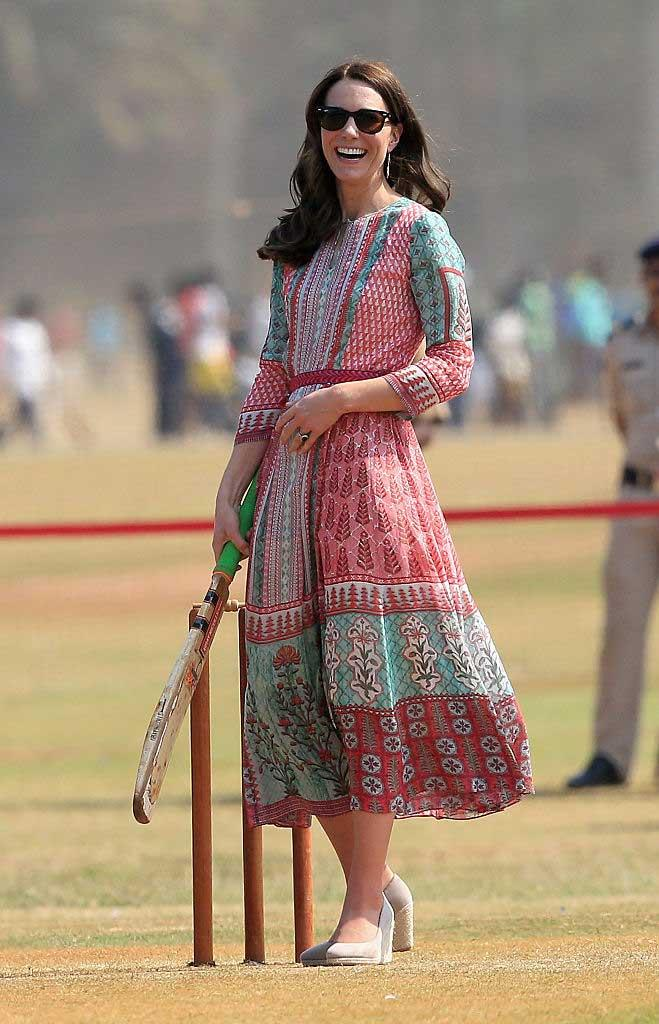Kate Middleton, Duchess of Cambridge plays cricket during a visit to meet children from Magic Bus, Childline and Doorstep, three non-governmental organizations, at Mumbai's iconic recreation ground, the Oval Maidan, during the royal visit to India and Bhutan on April 10, 2016 in Mumbai, India.