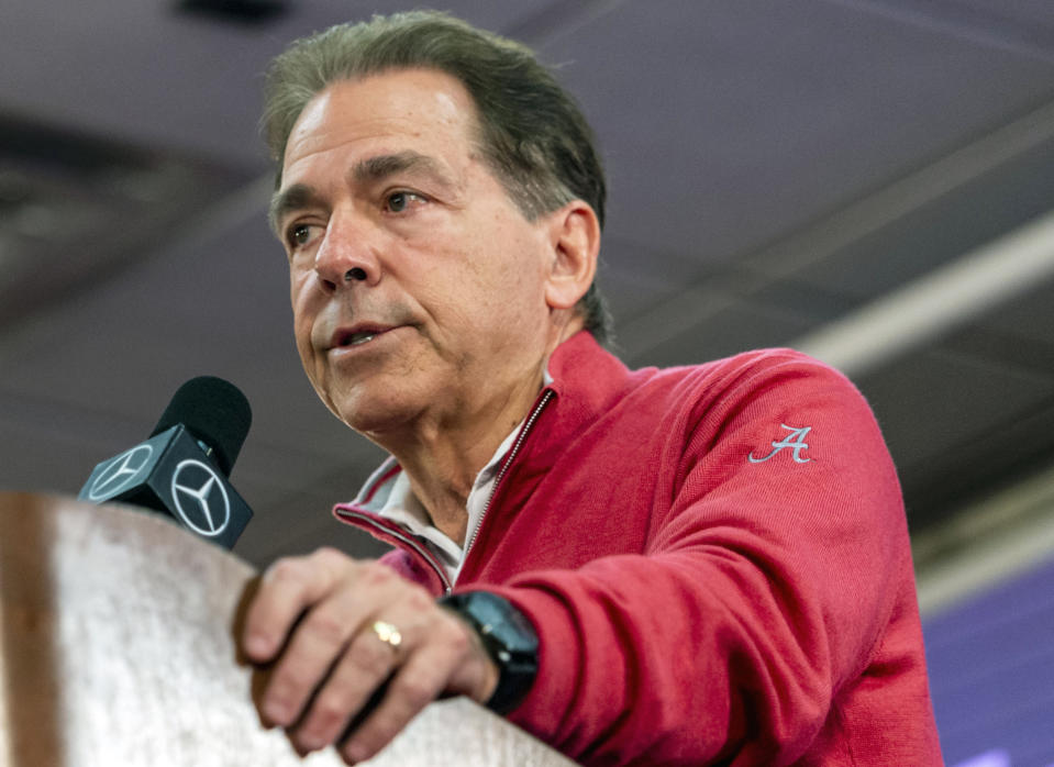 Alabama coach Nick Saban speaks to the media during a news conference on Jan. 6, 2020. (AP)