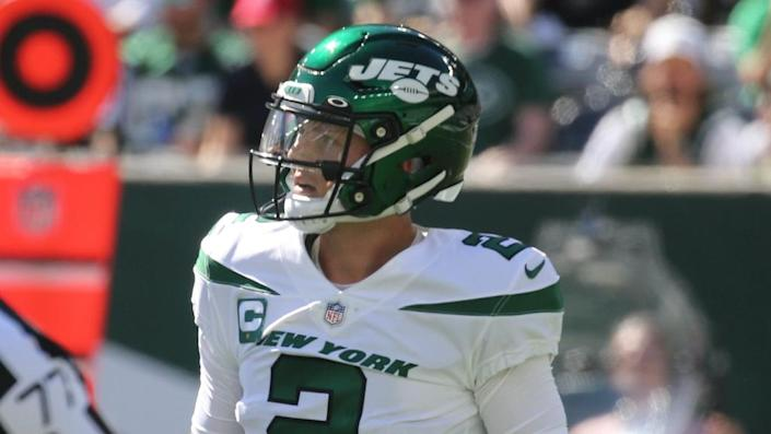 Jets quarterback Zach Wilson who threw three interceptions in the first half as the New England Patriots played the NY Jets at MetLife Stadium in East Rutherford, NJ on September 19, 2021.