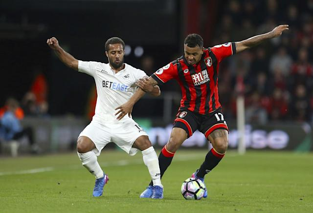 <p>Swansea City's Wayne Routledge, left, and AFC Bournemouth's Joshua King battle for the ball during the English Premier League soccer match at the Vitality Stadium </p>