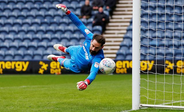 "Soccer Football - Championship - Preston North End vs Derby County - Deepdale, Preston, Britain - April 2, 2018 Derby County's Scott Carson in action Action Images/Craig Brough EDITORIAL USE ONLY. No use with unauthorized audio, video, data, fixture lists, club/league logos or ""live"" services. Online in-match use limited to 75 images, no video emulation. No use in betting, games or single club/league/player publications. Please contact your account representative for further details. TPX IMAGES OF THE DAY"