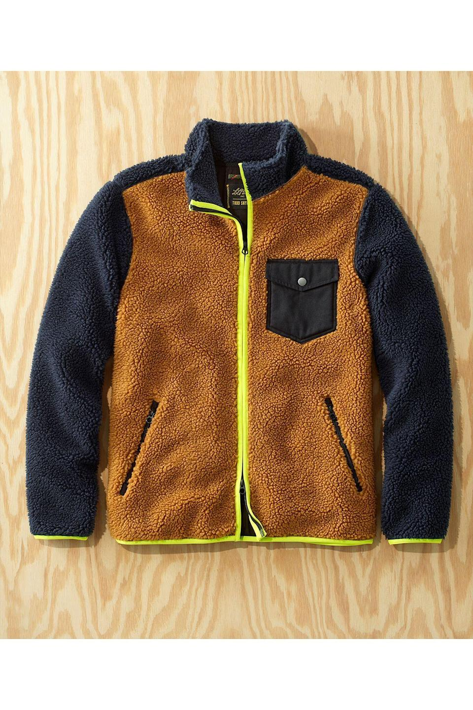 """<p><strong>L.L.Bean x Todd Snyder</strong></p><p>toddsnyder.com</p><p><strong>$149.00</strong></p><p><a href=""""https://go.redirectingat.com?id=74968X1596630&url=https%3A%2F%2Fwww.toddsnyder.com%2Fcollections%2Fl-l-bean-x-todd-snyder-three%2Fproducts%2Fllb-x-ts-hi-pile-sherpa-shirt-jacket-full-zip-navy-1&sref=https%3A%2F%2Fwww.townandcountrymag.com%2Fstyle%2Fmens-fashion%2Fg34524507%2Ftodd-snyder-and-ll-bean-collaboration%2F"""" rel=""""nofollow noopener"""" target=""""_blank"""" data-ylk=""""slk:Shop Now"""" class=""""link rapid-noclick-resp"""">Shop Now</a></p>"""