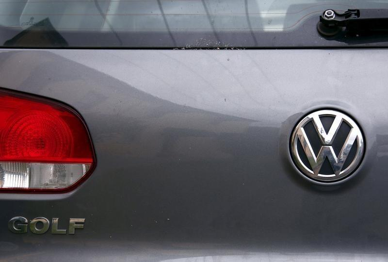 A Volkswagen logo is seen on one of the German automaker's cars in a street in Sydney, Australia