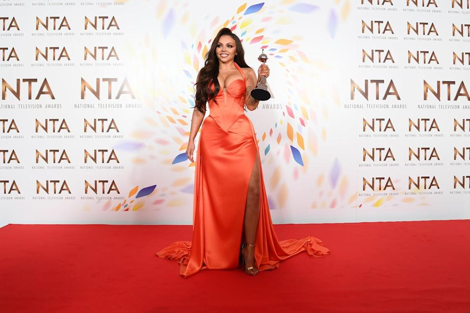 LONDON, ENGLAND - JANUARY 28: Winner of the Best Factual Entertainment Award,  Jesy Nelson poses in the winners room at the  2020 National Television Awards at The O2 Arena on January 28, 2020 in London, England. (Photo by Gareth Cattermole/Getty Images)