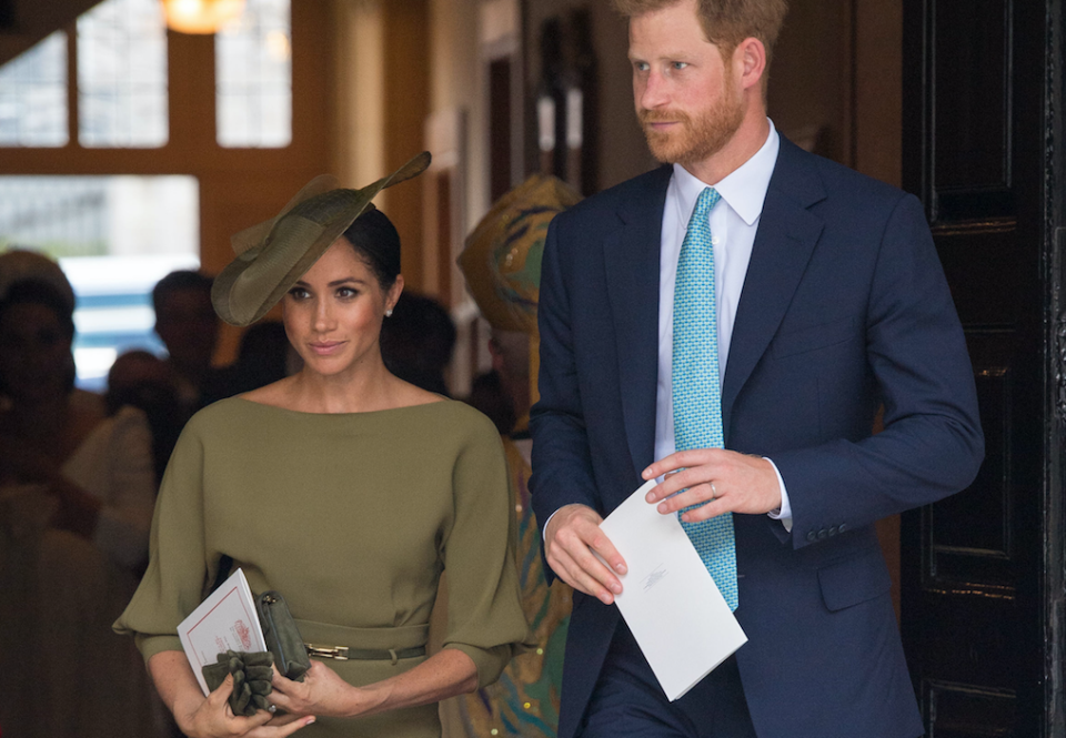 The Duchess of Sussex opted for the unusual colour for her nephew's christening. [Photo: PA]