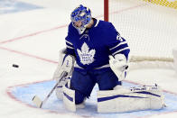 Toronto Maple Leafs goaltender Frederik Andersen makes a save against the Montreal Canadiens during the first period of an NHL hockey game in Toronto, Wednesday, Jan. 13, 2021. (Frank Gunn/The Canadian Press via AP)