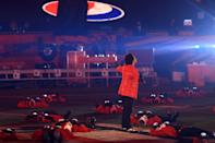 <p>TAMPA, FLORIDA - FEBRUARY 07: The Weeknd performs during the Pepsi Super Bowl LV Halftime Show at Raymond James Stadium on February 07, 2021 in Tampa, Florida. (Photo by Mike Ehrmann/Getty Images)</p>