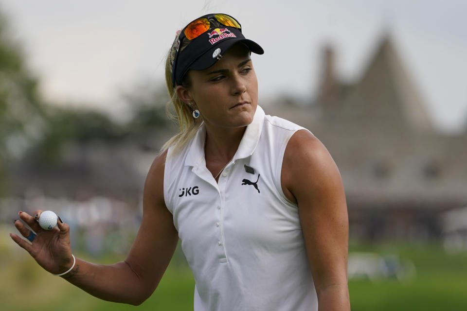 Lexi Thompson reacts after sinking her putt on the 10th green in the second round of the Cognizant Founders Cup LPGA golf tournament, Friday, Oct. 8, 2021, in West Caldwell, N.J. (AP Photo/John Minchillo)