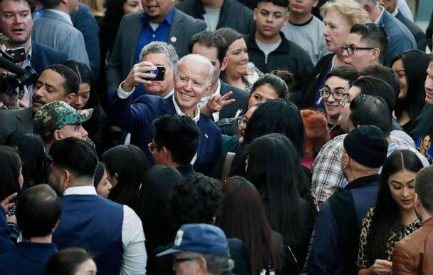 PHOTO: Former Vice President and Democratic presidential candidate Joe Biden takes a selfie at a campaign event, Jan. 11, 2020, in Las Vegas. (John Locher/AP)